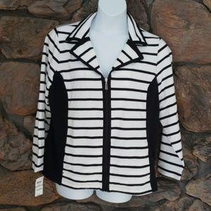 Karen Scott sport jacket white and black 1X NWT